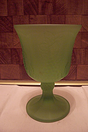 Green Grape Pattern Satin Glass Goblet