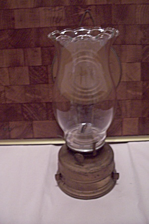 German Metal Wall & Table Oil Lamp W/glass Globe