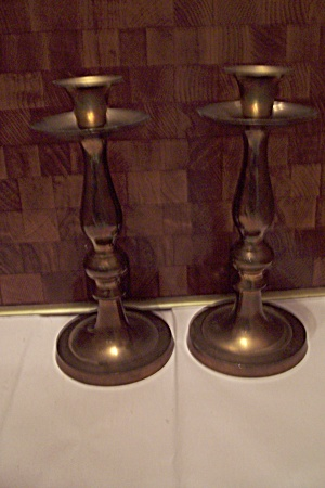 Pair Of Tall Brass Candle Holders (Image1)