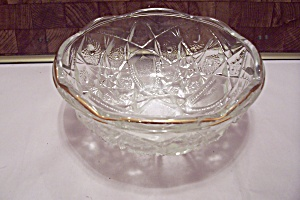 Brilliant Crystal Pattern Glass Gilt Trimmed Bowl