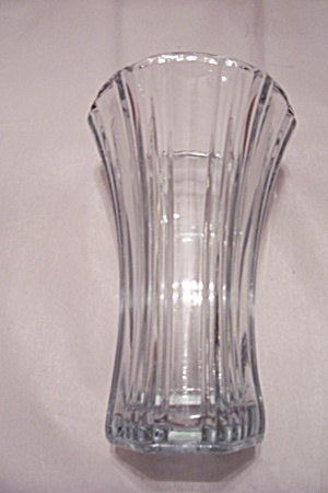 Tall Crystal Glass Flared Top Rim 6-sided Vase