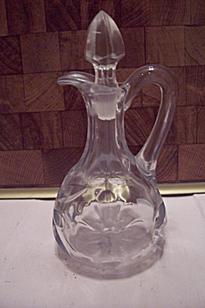 Crystal Pattern Glass Cruet With Faceted Stopper