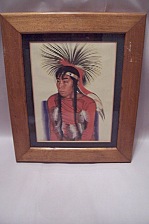 Framed Native American Young Male's Portrait Art Print (Image1)