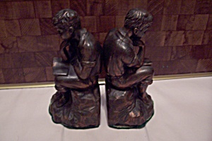 Pair Of Copper Plated Metal Boy Thinker Bookends (Image1)