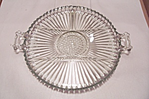 Crystal Pattern Glass Divided Serving Tray