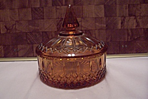 Amber Diamond Pattern Glass Candy Dish With Lid