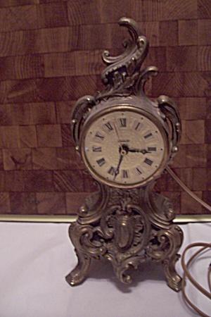 Louis IV Brass Metal Mantel Electric Clock (Image1)