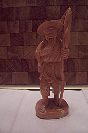 Carved Wooden Korean Fisherman Figurine