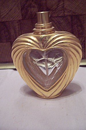 Gold Color & Crystal Glass Heart Shaped Perfume Bottle