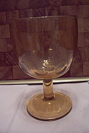 Honey Amber Thumbprint Pattern Glass Goblet (Image1)
