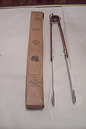 Wagon Train Range Brands Barbeque Metal & Wood Tongs (Image1)