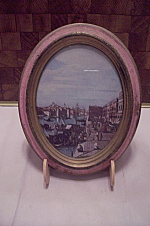 Oval Framed Italian Seaport Scene Print