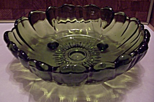 Green Pattern Glass 3-toed Centerpiece/fruit Bowl