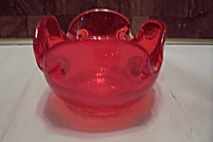 Cherry Red Cased Art Glass Folded Bowl/Ash Tray (Image1)
