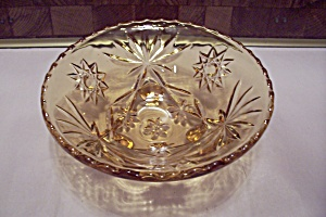 Fire King/anchor Hocking Eapc Amber Glass 3-toed Bowl