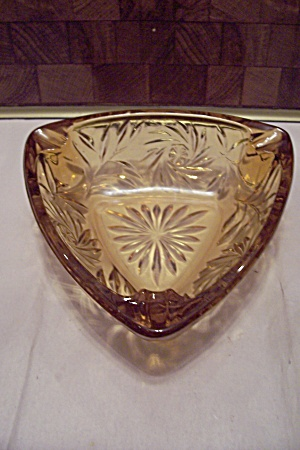 Light Amber Pattern Glass Triangular Ash Tray