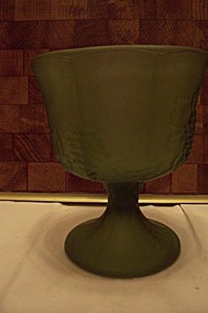 Green Satin Glass Grape Pattern 8-Sided Comport (Image1)