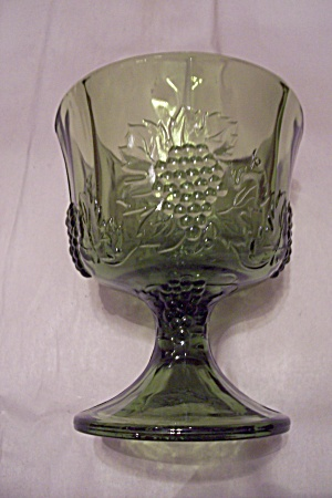 Green Grape Pattern 8-sided Glass Comport