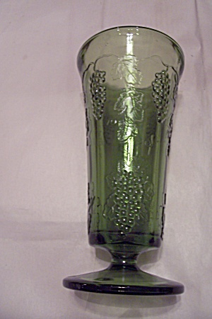 Green Glass Grape Pattern Pedestal Vase