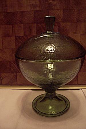 Green Glass Lidded Comport (Image1)