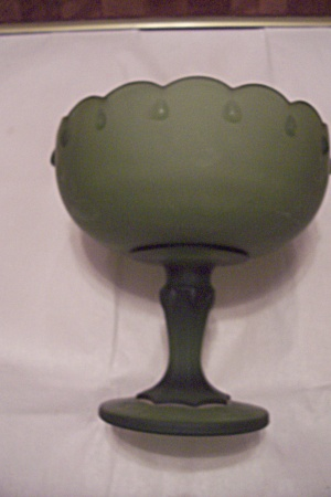 Green Satin Glass Pedestal Centerpiece Fruit Bowl