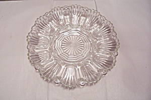 Crystal Pattern Glass Footed Egg Serving Dish