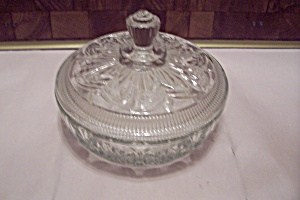 Avon Crystal Pattern Glass Lidded Powder Dish (Image1)