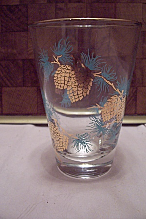 Libby Pine Cone Decorated Glass Tumbler