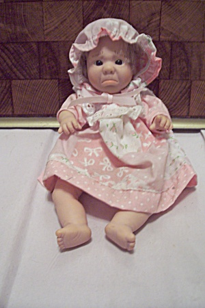 Sad Little Baby Girl Doll In Pink Dress & Hat