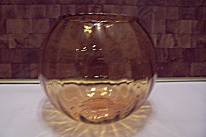 Light Amber Jand Blown Art Glass Bulbous Bowl (Image1)