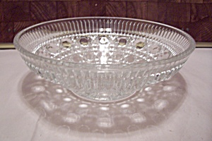 Crystal Button & Diamond Pattern Glass Bowl