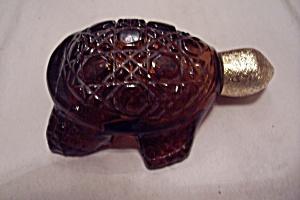 Avon Amber Daisy & Button Glass Turtle Bottle (Image1)