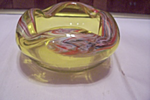 Murano Cased Vaseline Art Glass With Canes Folded Bowl
