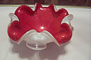 Murano Hand Blown Cased Red & White Glass Folded Bowl