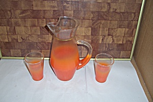 Art Glass Flashed Orange Juice Pitcher With Glasses