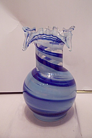 Old Timer Blue & White Cased Art Glass Vase