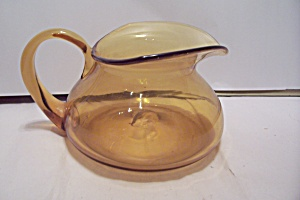 Hand Blown Light Amber Art Glass Bulbous Pitcher