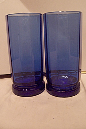 Pair Of Hand Blown Cobalt Blue Art Glass Tumblers