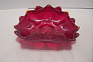 Amberina Cased Art Glass Folded Bowl