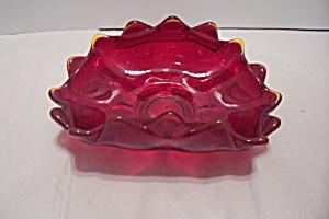 Amberina Cased Art Glass Folded Bowl (Image1)