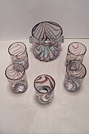 Hand Blown Cased Art Glass Ice Bucket & Tumblers