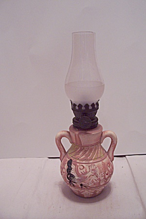 Miniature Western Themed Pottery Oil Lamp