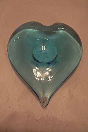 Blue Art Glass Heart-shaped Paperweight