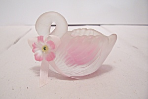 Satin Glass Swan Candle Holder