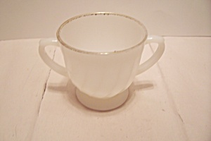 Fire King/ah Golden Anniversary Swirl Footed Sugar Bowl