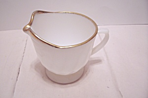 Fire King/ah Golden Anniversary Swirl Footed Creamer