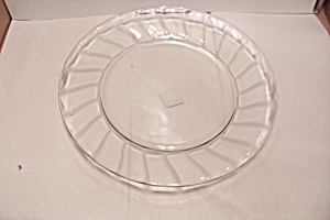 Anchor Hocking Crystal Glass Swirl Pattern Chop Plate