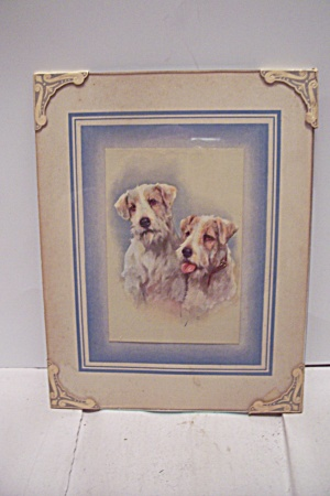 Antique Framed Art Print Of Pair Of Dogs