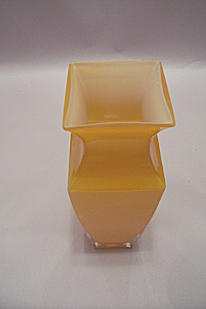 Yellow Handblown Square Cased Art Glass Vase