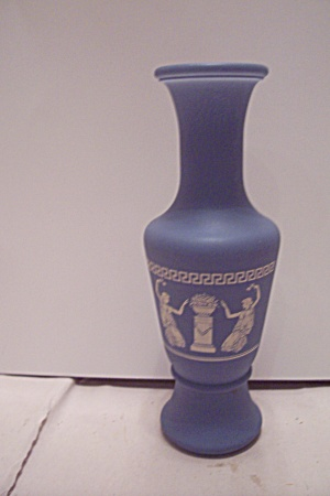 Light Blue Greek Decorated Art Glass Bud Vase